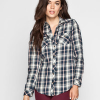 Angie Womens Boyfriend Flannel Shirt Navy  In Sizes