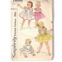 1950's Vintage Sewing Pattern, Toddler's Dress, Pinafore and Bonnet, Size 1, Simplicity 1896
