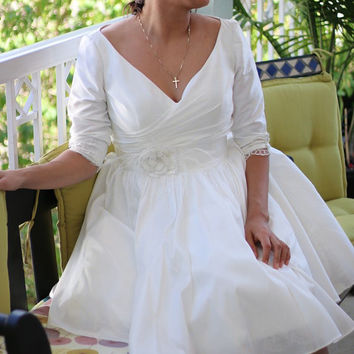 Custom made Modest Retro 50s Tea Length Wedding Dress with tulle Petticoat  ,Three-quarters sleeves and lace cuffs YS 198580978