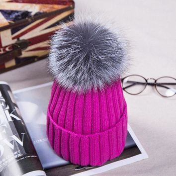 MDIG9GW 12cm Real Fox Fur Pom Poms Knitted Beanies Winter Hat For Women Girl 's Skullies Warm Hat