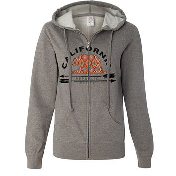 California Republic Native Ladies Lightweight Fitted Zip-Up Hoodie