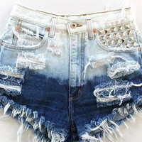 High Waisted Studded Distressed Dip Dye Denim by MagapeMuguet