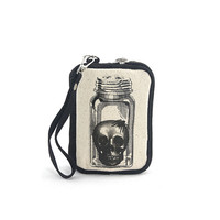 Vintage Print Skull in a Jar Canvas Wristlet Bag Cosmetic Makeup Money ID CC