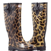 Women Waterproof Rubber Rain Boots - Garden Collection (Leopard,8)