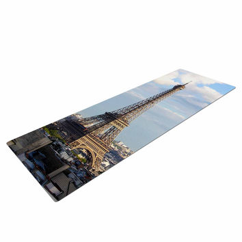 "Philip Brown ""Eiffel Tower"" Gold Black Yoga Mat"