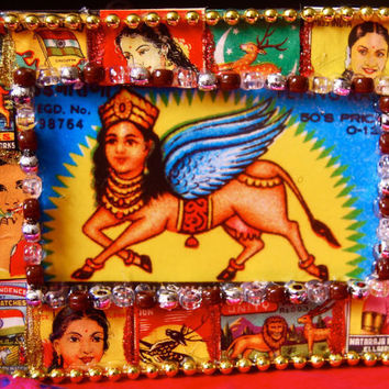 Indian matchbox frame, vintage decor