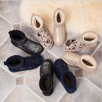 High Quality ! SALE Women Australia Snow Boots Warm Fur Baileys Bow boots women winter boots Genuine Leather Female Furry Boots