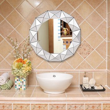 "31.5""Dia Round Beveled Wooden Frame Wall-mounted Mirror This large framed edge round wall mirror is a perfect addition to your room."