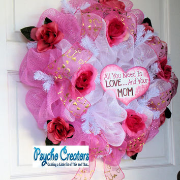 Mother's Day Deco Mesh Wreath -  Mom Love  - White Pink Rose Wreath