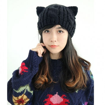 New Fashion Women Horns Cat Ear Crochet Braided Knit Ski Beanie Wool Hat Cap