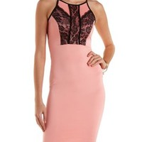 Pink Combo Lace-Trim Racer Front Bodycon Dress by Charlotte Russe
