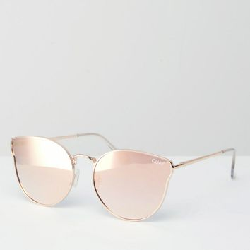 f4cc66d270 Quay Australia All My Love Rose Gold Metal Cat Eye Sunglasses with Flat  Mirror Lens
