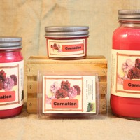 Carnation Scented Candle, Carnation Scented Wax Tarts, 26 oz, 12 oz, 4 oz Jar Candles or 3.5 Clam Shell Wax Melts
