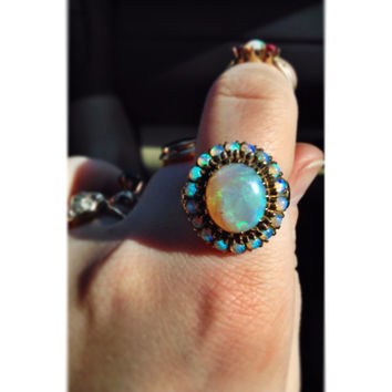 Vintage 1930s Regal Opal Halo Cluster Ring in 10K Yellow Gold