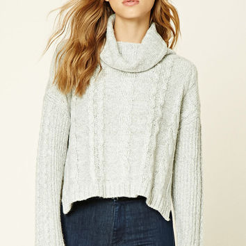 Cable Knit Cowl Neck Sweater