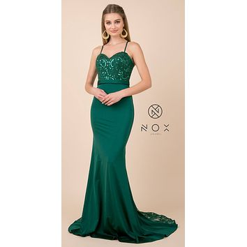 Green Long Prom Dress with Mesh Appliqued Train