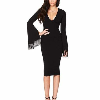 Bell Sleeve Fringe Bandage Dress
