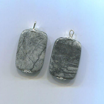 2 gemstone pendants stone pendants gray marble stone charms gemstone charms 30mm long natural jewelry findings