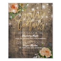 Wood Floral Wedding Signature Cocktail Drink Menu Poster