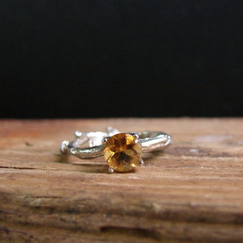 Gold Citrine Twig Ring Alternative Engagement Botanical Ring November Birthstone