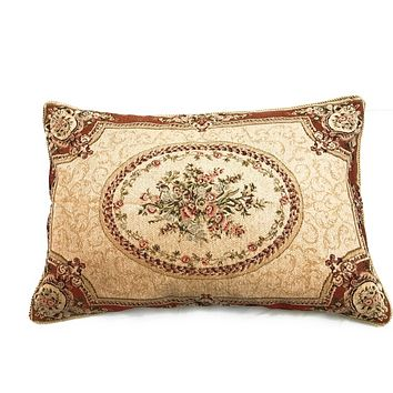 Tache Floral Chenille Woven Medallion Orange Desert Oasis Pillowcases (DSC0019-1PC)
