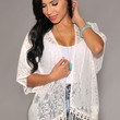 White Sheer Printed Cardigan with Fringe Accent