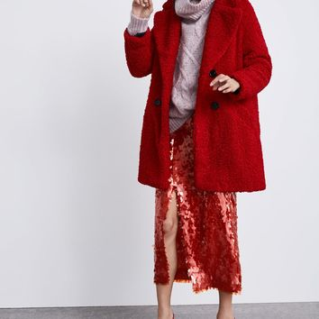 FAUX SHEARLING COLORED COAT