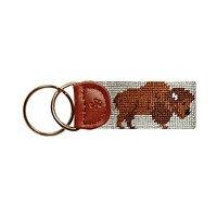 Buffalo Needlepoint Key Fob in Khaki by Smathers & Branson