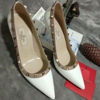 Valentino 2018 new rivet pointed flat shoes single shoes high heels F-OMDP-GD white