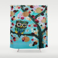 :: Gemmy Owl Loves Jewel Trees :: Shower Curtain by :: GaleStorm Artworks ::