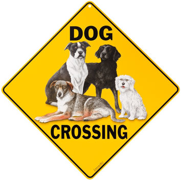 Dog Crossing Aluminum Sign