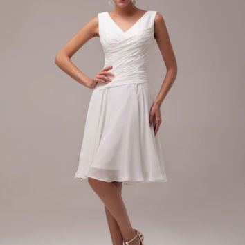 White Sleeveless V-Neck Ruched Homecoming Dress