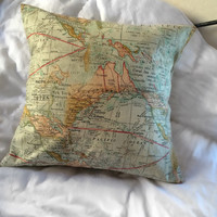 Old Fashion Cream Map Pillow Case