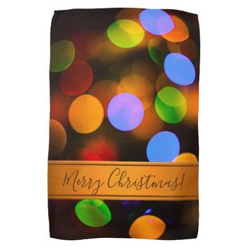 Multicolored Christmas lights. Add text or name. Kitchen Towel
