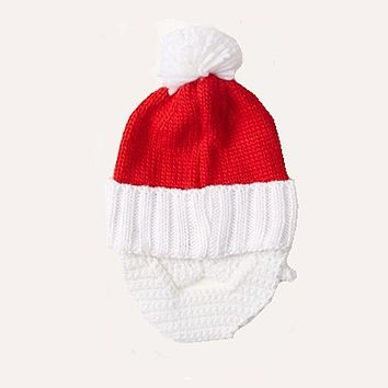 Ugly Sweater Knit Hat - Santa Hat and Beard