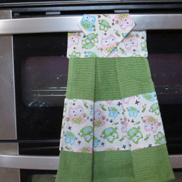 Kitchen Towel, Hanging Dish Towel, Tie Towel,Hanging Tea Towel, Hanging Hand Towel, Owl Kitchen Towel