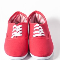 Canvas Tie Sneakers - Red at Lucky 21 Lucky 21