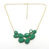"Pro Jewelry Bib Bauble Adjustable up to 23"" Necklace w/ Green Faceted Tear Drop Acryllic Beads 0172-4"