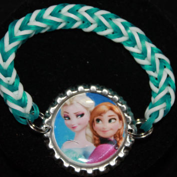 Frozen Bottle Cap Rainbow Loom Bracelet ~ FREE SHIPPING