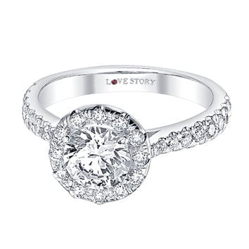 Round Halo Love Story Engagement Ring Steven Singer Jewelers
