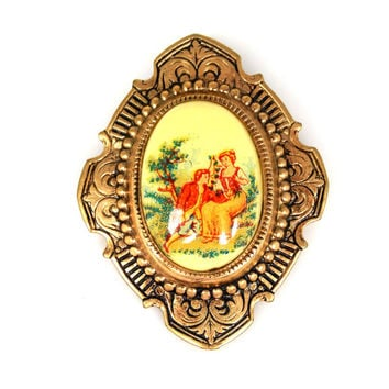 Vintage Hand Painted Copper Wash Cameo Brooch