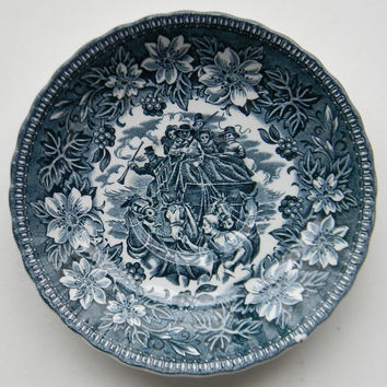 Vintage Teal Blue Transferware Saucer Plate Horses English Stagecoach Carriage Peonies
