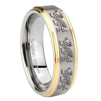 10MM Step Edges Multiple Dragon 14K Gold IP Tungsten Two Tone Men's Ring