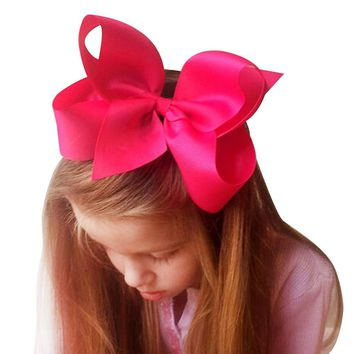 6 Inch Boutique Grosgrain Ribbon Bow Girls' Hairpins With Clip Big Bowknot Hair Clips Children Headwear HC081