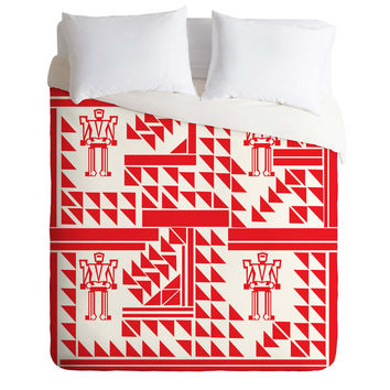 Vy La Robots And Triangles Duvet Cover