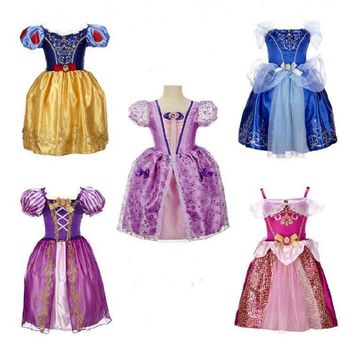 Summer Girls Dresses xmas gift Tutu Princess Costume Baby Elsa Anna Dress Snow Queen Baby Kids Dress Party Dress Girls Clothes