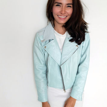 Womens light pastel blue leather jacket biker jacket size small limited edition