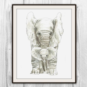 Mother and Baby Elephant Print of Original Watercolor - Elephants Watercolor Painting - Jungle Animal Family Art - Nursery Art