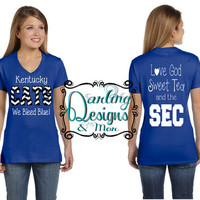 Kentucky Cats Love God Sweet Tea and the SEC on a V Neck Women T-shirt