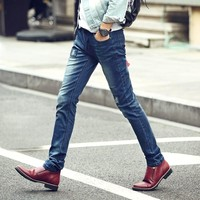 Summer Korean Slim Ripped Holes Stretch Pants Jeans [6541850435]